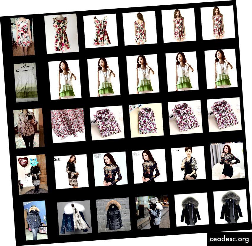 Hakutulokset. Ensimmäinen sarake - kysely (käyttäjän kuva), seuraava 5 - samankaltaisimman myyjän kuvat.