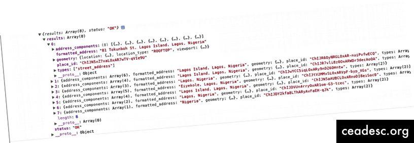Ejemplo de salida de la API de geocodificación inversa
