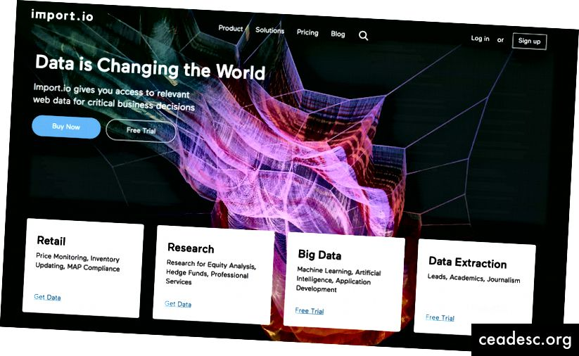 Import.io annab teile praktilise kogemuse, kuidas näete, kuidas andmed ühenduvad kasutajaliidesega.
