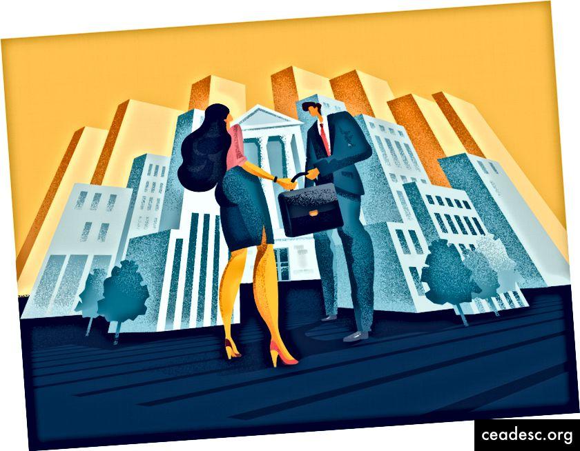 Ilustrație de lucru în echipă de afaceri