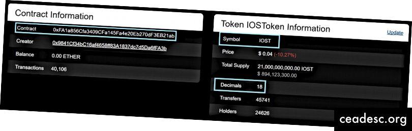 (los rectángulos azules indican el contrato y los decimales para el token con el símbolo IOST)