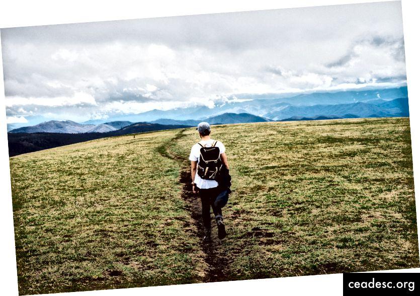 """""""Mütsi ja seljakotiga mees matkab kaamerast eemal rohelises rohus mägede poole"""", autor Joshua Ness saidil Unsplash"""