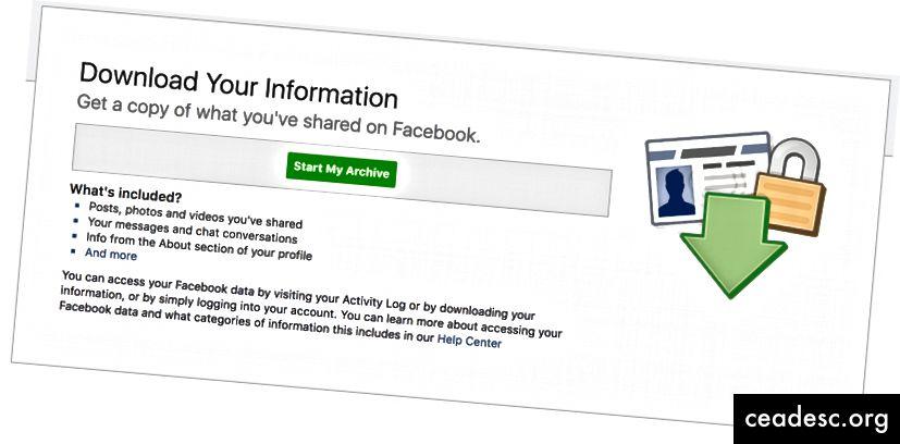 A partir de abril de 2018: dónde ir en la configuración de Facebook para descargar toda su vida en Facebook.