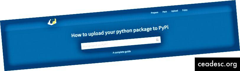 Guía completa de cómo cargar su paquete a PyPi e instalarlo a través de pip. Captura de pantalla: PyPi.org