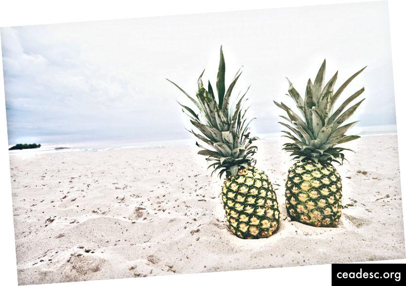 """""""Paar ananassi kõrvuti rannas."""" Pineapple Supply Co. saidil Unsplash"""