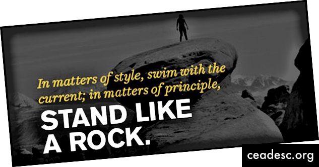 """""""En materia de estilo, nada con la corriente; en materia de principios, párate como una roca."""