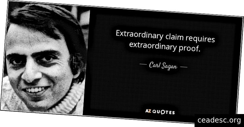 Erakorralised nõuded nõuavad erakorralisi tõendeid, AKA on Sagani standard