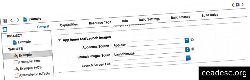 Exemple de paramétrage LaunchImage