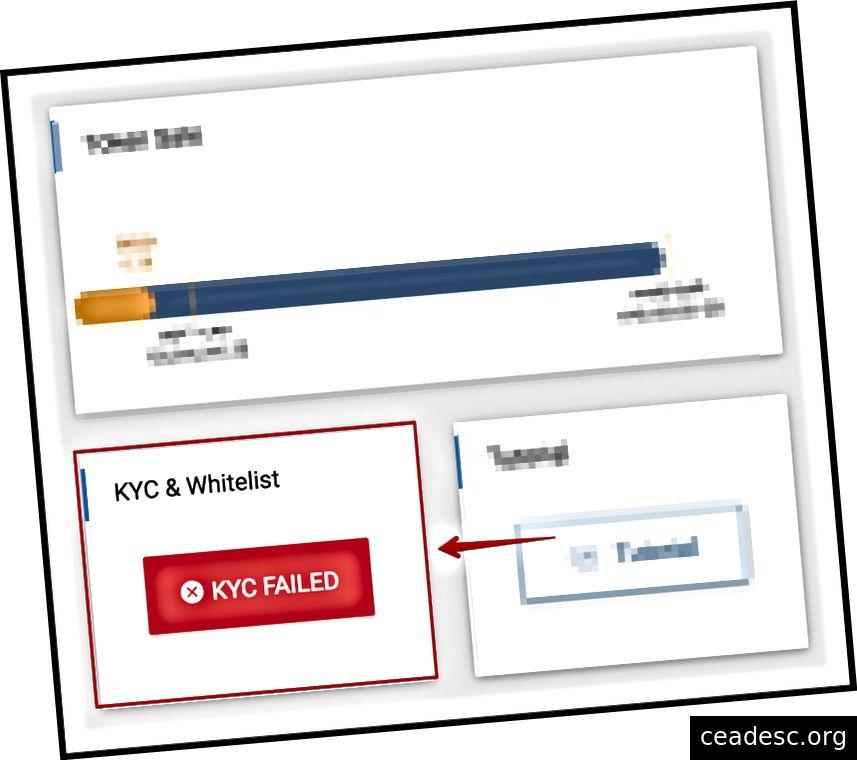 Tình trạng KYC không thành công trong tình trạng trên bảng điều khiển chính