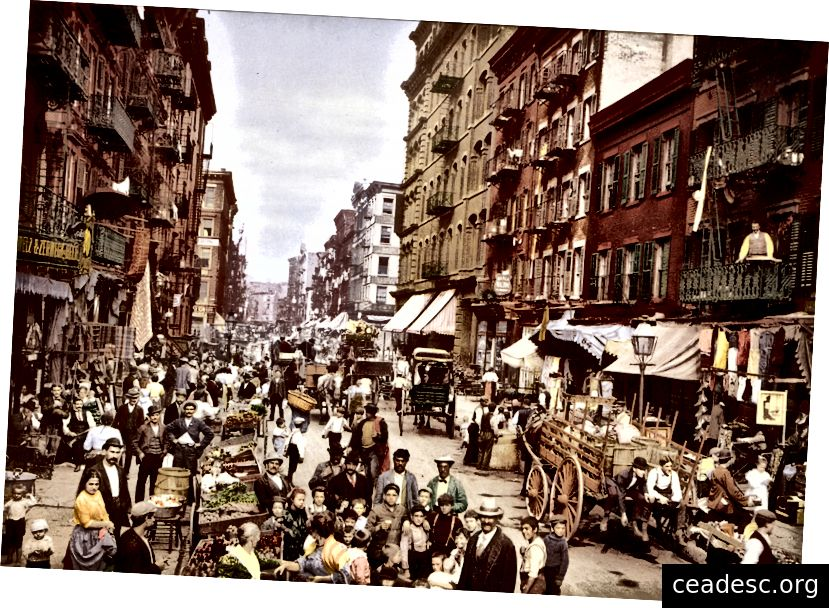 Mulberry Street, Little Italy, circa 1900. Foto: Wikimedia Commons