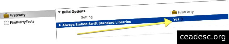 Questo copierà / incollerà le librerie standard di Swift all'interno di FirstParty.framework / Versions / Current / Frameworks /