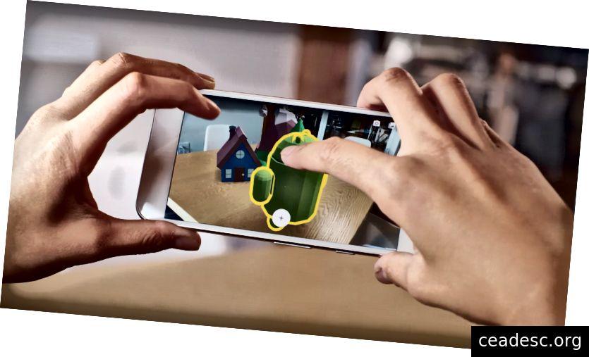 Потребителят взаимодейства с обекти с разширена реалност на плот - https://www.youtube.com/watch?v=ttdPqly4OF8