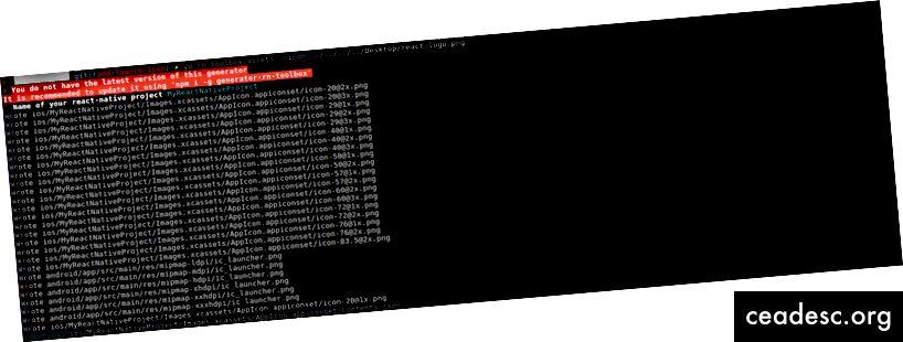 Image 3: Exécution de la commande rn-toolbox avec un exemple de nom d'icône react-logo.png