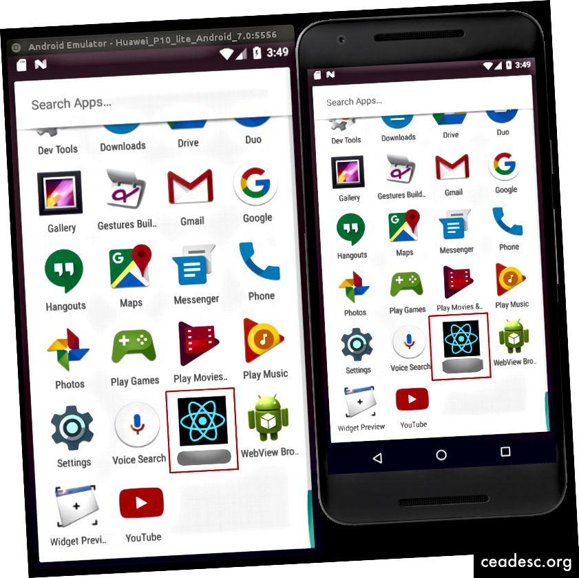 Image 5: Exemple d'application avec les icônes de lancement récemment ajoutées, comme indiqué dans le menu Android