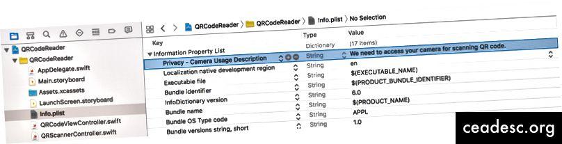 Redigering af Info.plist for at tilføje en ny nøgle