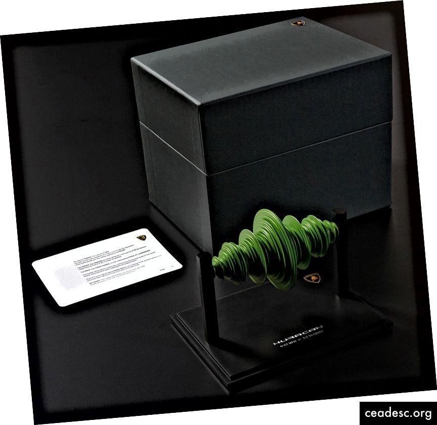 La scultura di onde sonore Lamborghini: un rendering artistico dell'iconico suono del motore.