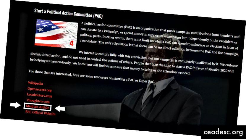 Site de la campagne présidentielle 2020 de John McAfee