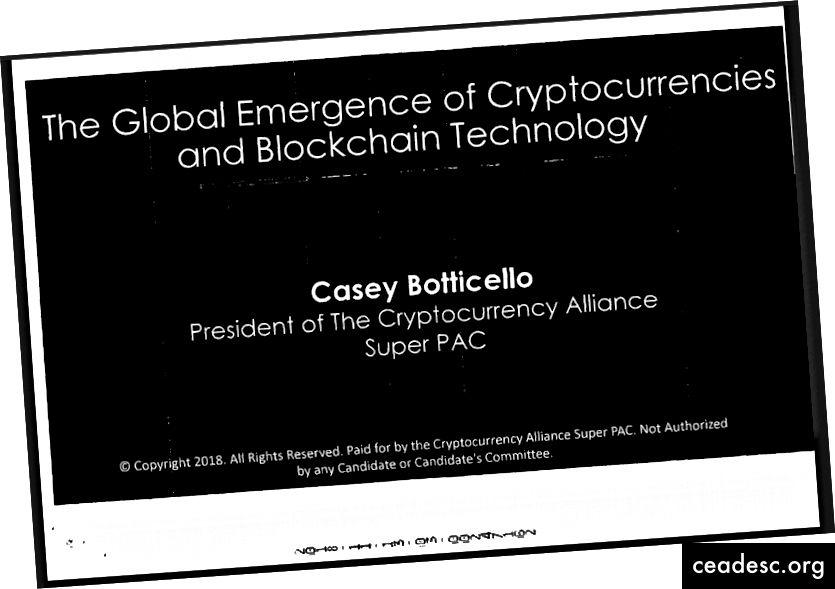 Cryptocurrency Alliance Super PAC Présentation de Casey Botticello sur le site de la FEC