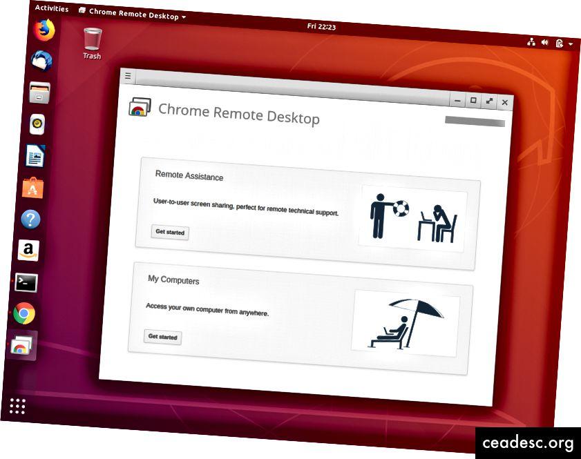 Après avoir lancé Chrome Remote Desktop pour la première fois