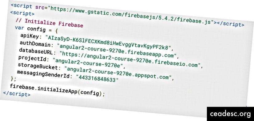 Моят конфигурационен обект за Firebase след избиране на уеб приложение.