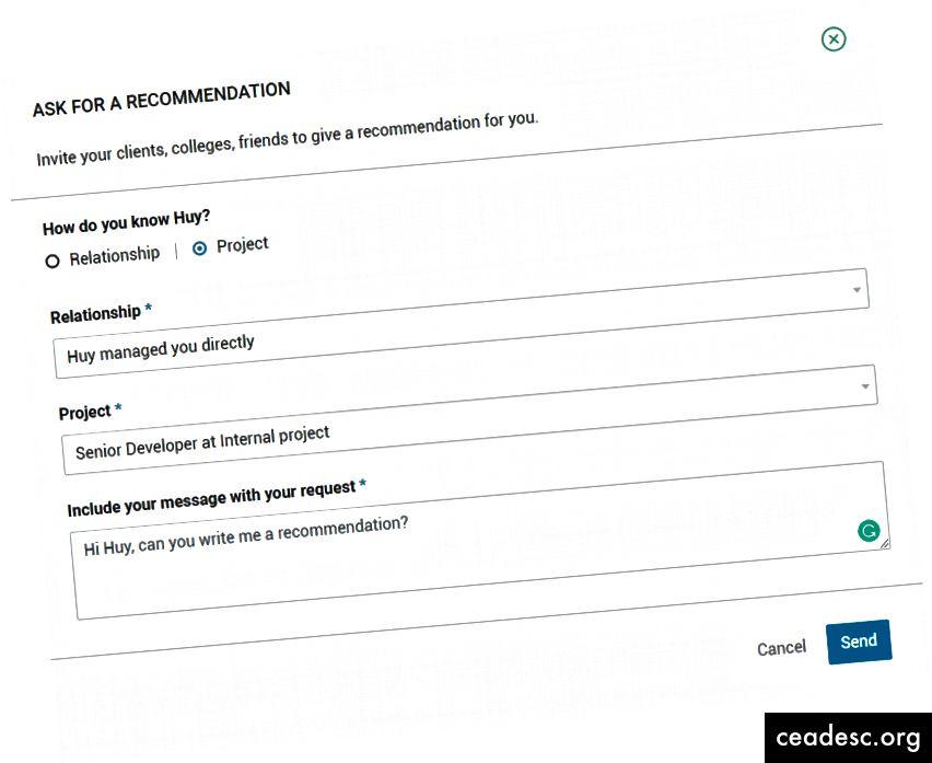 Choisissez le projet pour obtenir des informations de la partie portefeuille.