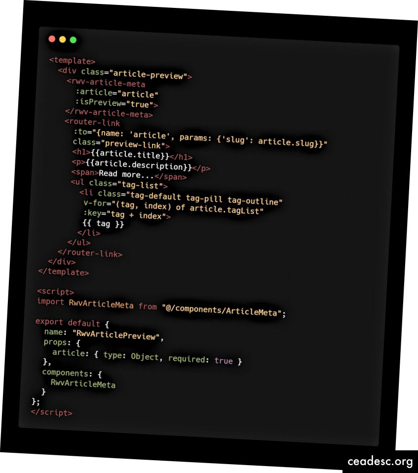 Il codice sorgente di VArticlePreview.vue prima del refactoring