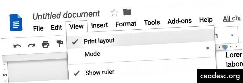 Премахнете отметката от оформлението за печат, за да премахнете пропуските в пробив на страницата