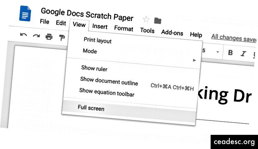 Изгледът на цял екран крие лентата с инструменти в стила на MS Word