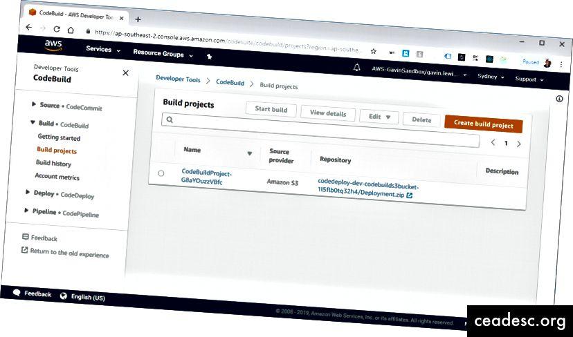 Le projet CodeBuild créé par le framework sans serveur