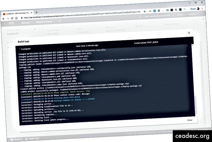 CodeBuild obtiendra la sortie de l'image Docker effectuant la construction et le déploiement