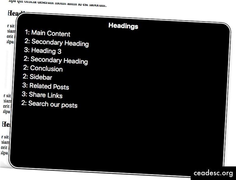 VoiceOver affiche une liste de navigation de tous les en-têtes d'une page.