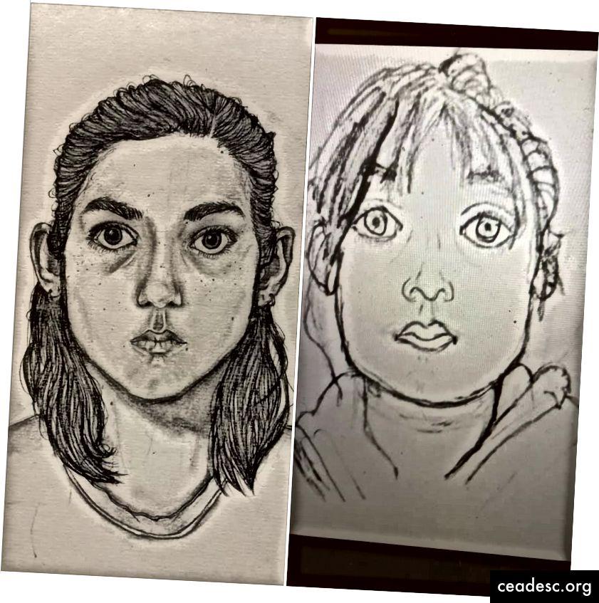 Ruby autoportreed vanuses 14 ja 11, kõrvuti.