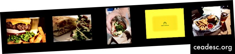 Cinq exemples d'images {hamburger, sandwich} de Google Open Images V4.
