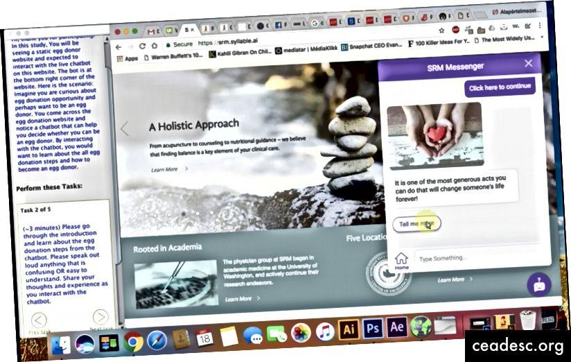 Capture d'écran de la session de test TryMyUI