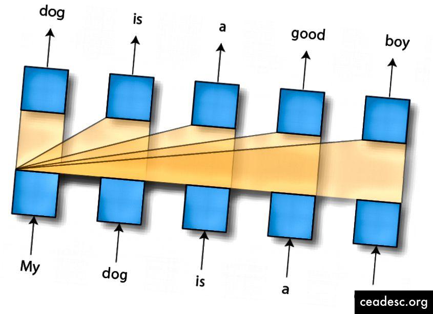 Một bộ giải mã / Biến áp nhân quả tham dự vào ngữ cảnh bên trái để tạo ra các từ tiếp theo