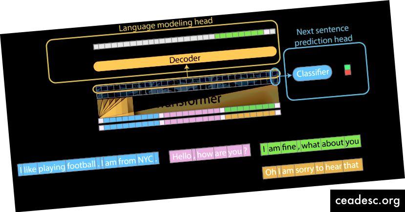Mục tiêu đào tạo đa tác vụ - mô hình được cung cấp hai đầu để dự đoán mô hình ngôn ngữ (màu cam) và phân loại câu tiếp theo (màu xanh)