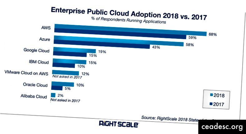 La crescita della quota di mercato del cloud nel 2018-2019