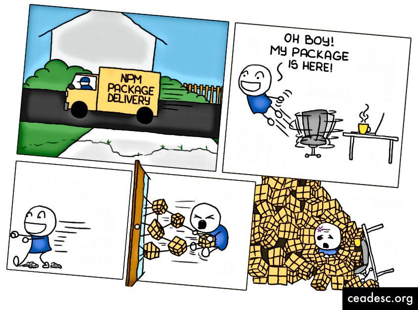 NPM-pakett, milles on palju sõltuvaid pakette, on omamoodi koorem. Pilt