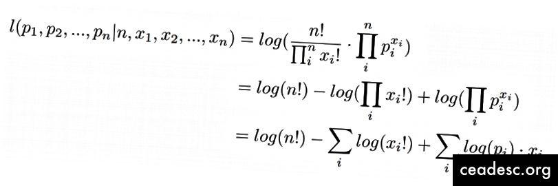 Log-vraisemblance de la distribution multinomiale