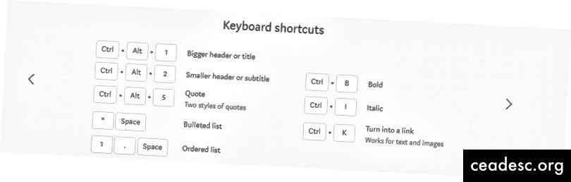 Raccourcis clavier de Medium