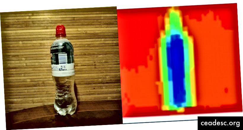 venstre - rigtigt billede; højre - termisk billede