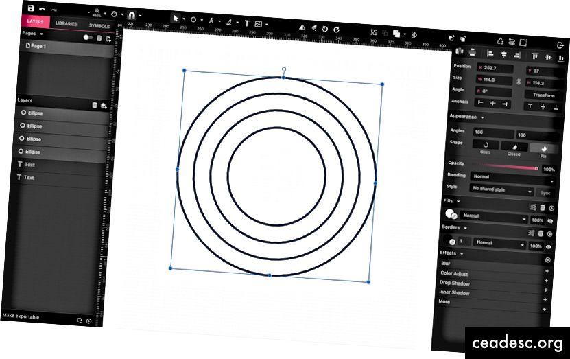 Neli kontsentrilist ellipsi.
