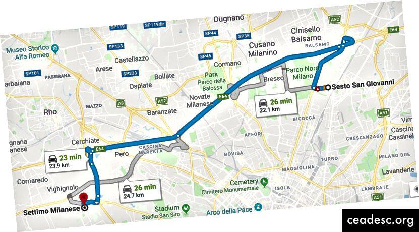 Percorso di Google Maps (calcolato a mezzanotte di sabato)