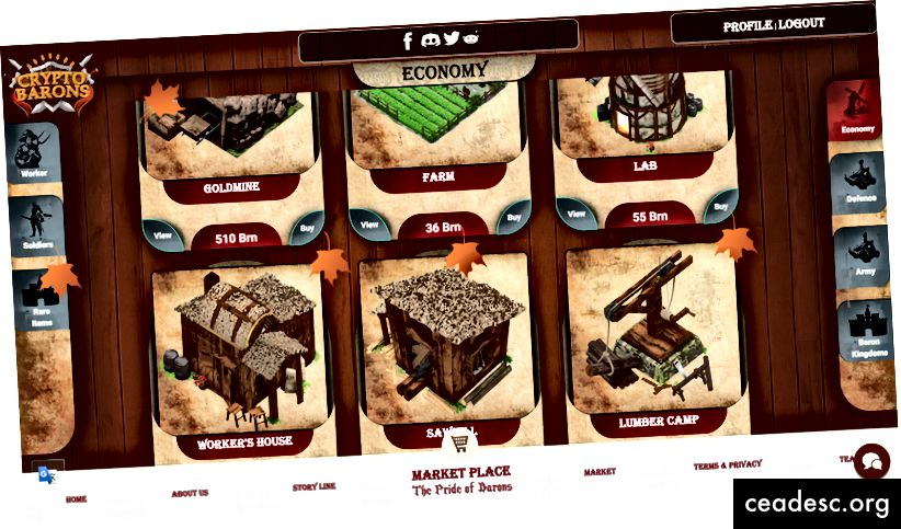 Screenshot des Marktplatzes