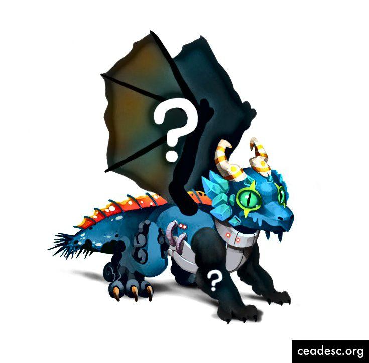 Lohikäärme, jolla on salaperäiset siivet ja aseet.