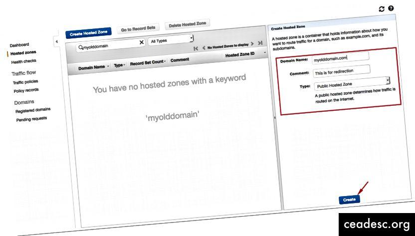 Entrez votre ancien nom de domaine et cliquez sur Créer
