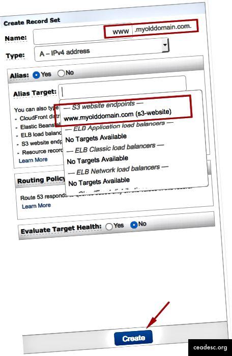 Sélectionnez S3 Website Endpoint et cliquez sur Créer.