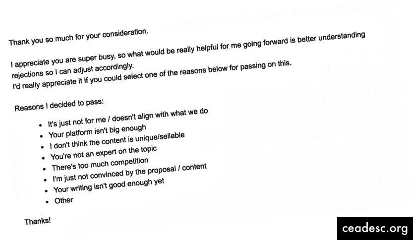 Le courriel que j'ai envoyé pour faire le suivi des rejets