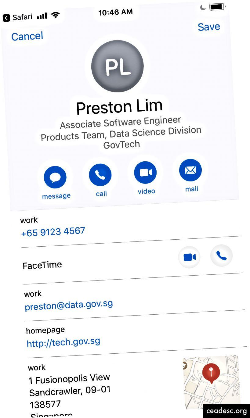 Podaci za kontakt prikazani na mobilnoj web stranici (lijevo) i VCF u aplikaciji Kontakti nakon preuzimanja (desno)