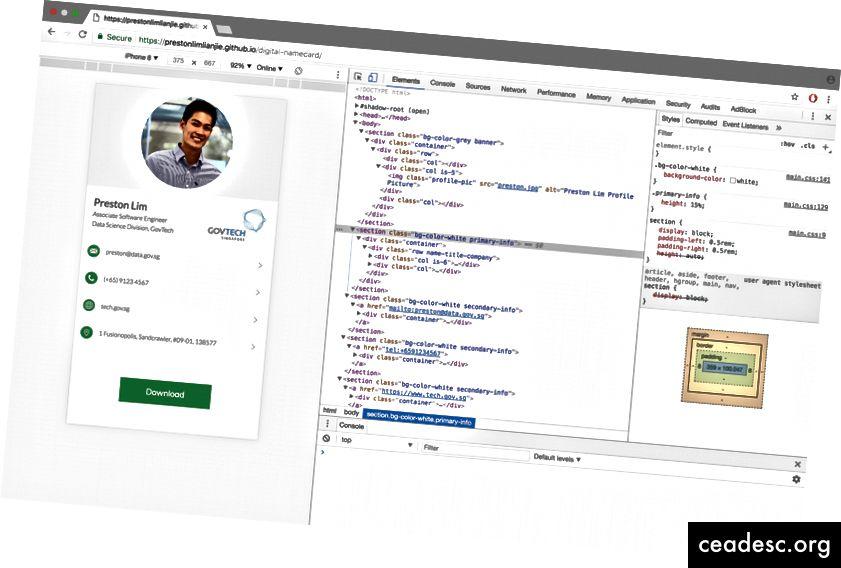 Web stranica kao korisnik to vidi (lijevo) i temeljni HTML kôd (desno) koji čita preglednik kako bi stvorio verziju web stranice koja se vidi s lijeve strane.